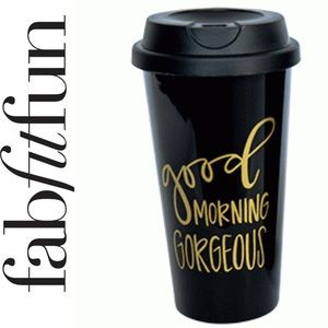 Hello gorgeous morning tumbler coffee cup drink